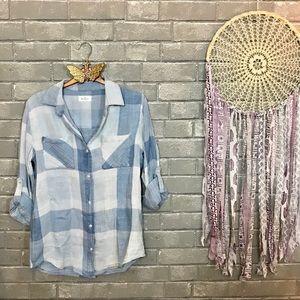 thread & supply // sky blue gingham plaid shirt s